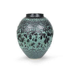 Albert Montserrat, Green Urani Vessel, 2020, Oil Spot Glazed Thrown Porcelain