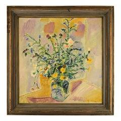 Albert Naur Danish painter, Still life with flowers in vase, 1956