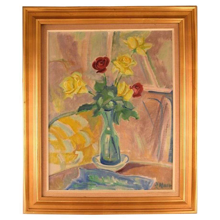 Albert Naur Danish Painter, Modernist Arrangement with Flowers