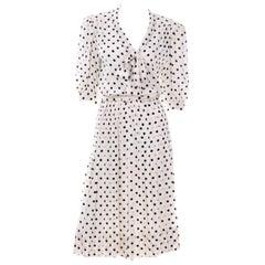 Albert Nipon Black & White Polka Dot Silk Vintage Dress w Belt