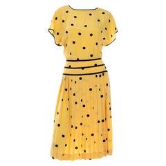 Albert Nipon Boutique Vintage Yellow Silk Dress With Black Polka Dots