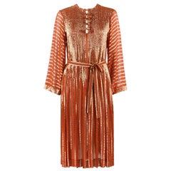 ALBERT NIPON c.1970's Burnt Orange Gold Metallic Caftan Dress + Belt Sash