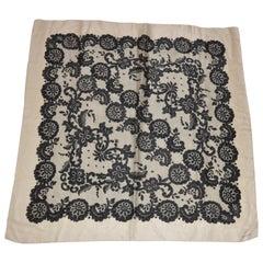"Albert Nipon Wonderfully Elegant Ivory Borders ""French Lace"" Silk Scarf"