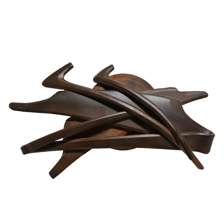 """Albert Paley 1994 """"Medallion"""" Paperweight in Blackened Steel with Rust Patina For Sale"""