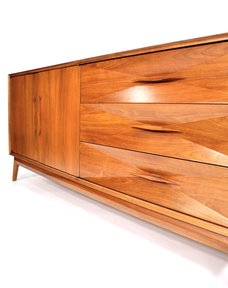 Albert Parvin Diamond Front Walnut Dresser For Sale 8