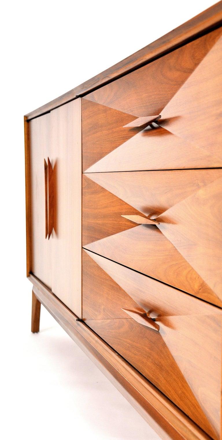 Albert Parvin Diamond Front Walnut Dresser For Sale 10