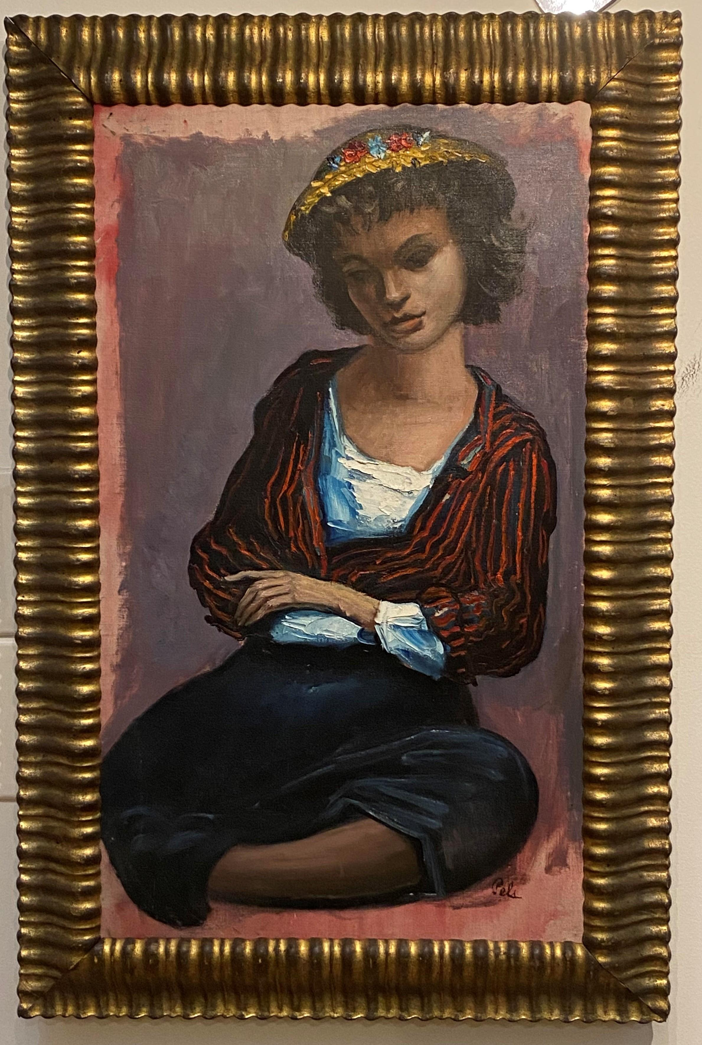 Albert Pels, American 1910-1998 Social realist figural Portrait Oil on Canvas