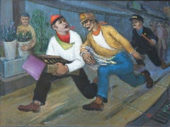 """""""The Chase"""" NYC modernism WPA American Scene Mid-Century Art Students League"""