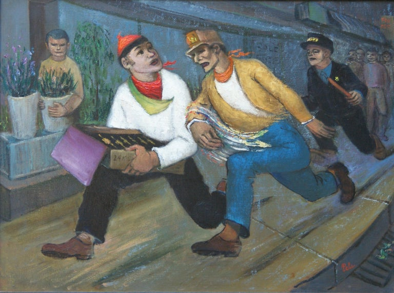 "Albert Pels Figurative Painting - ""The Chase"" NYC modernism WPA American Scene Mid-Century Art Students League"