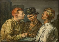"""""""Three Engineers,"""" Albert Pels, Men at Table with Compass, WPA, American Realism"""