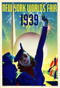 Original Vintage Poster New York World's Fair Modernist Trylon Perisphere Design