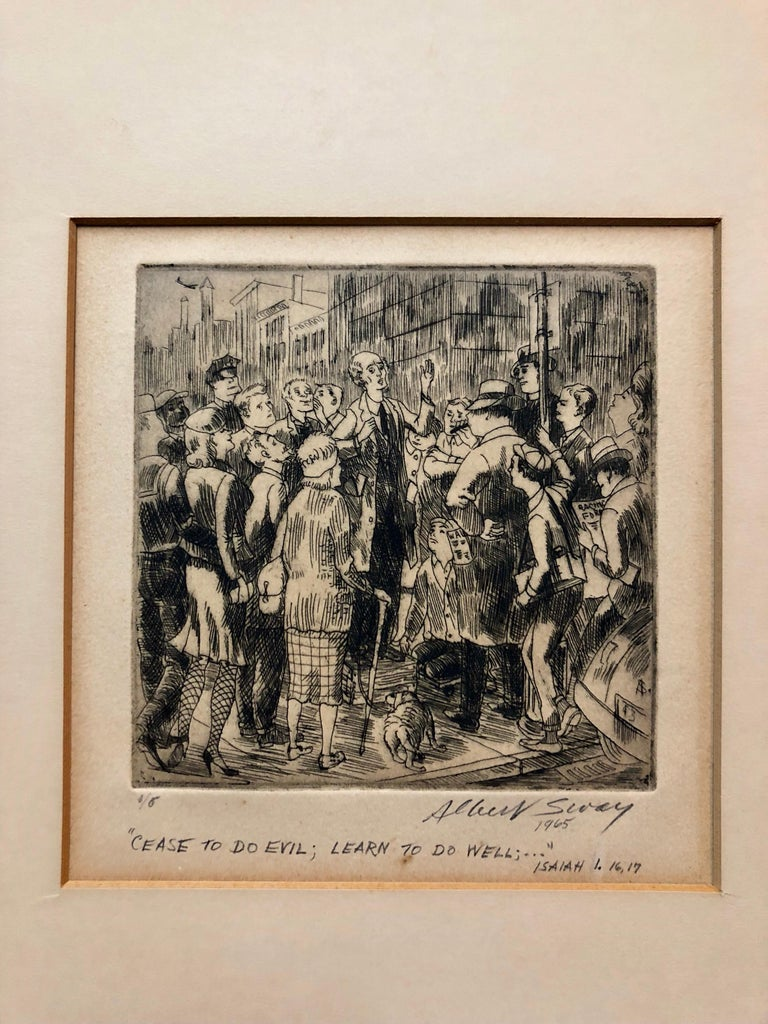 New York Social Realist Etching Cease To Do Evil Learn To Do Well WPA Artist NYC - Print by Albert Sway