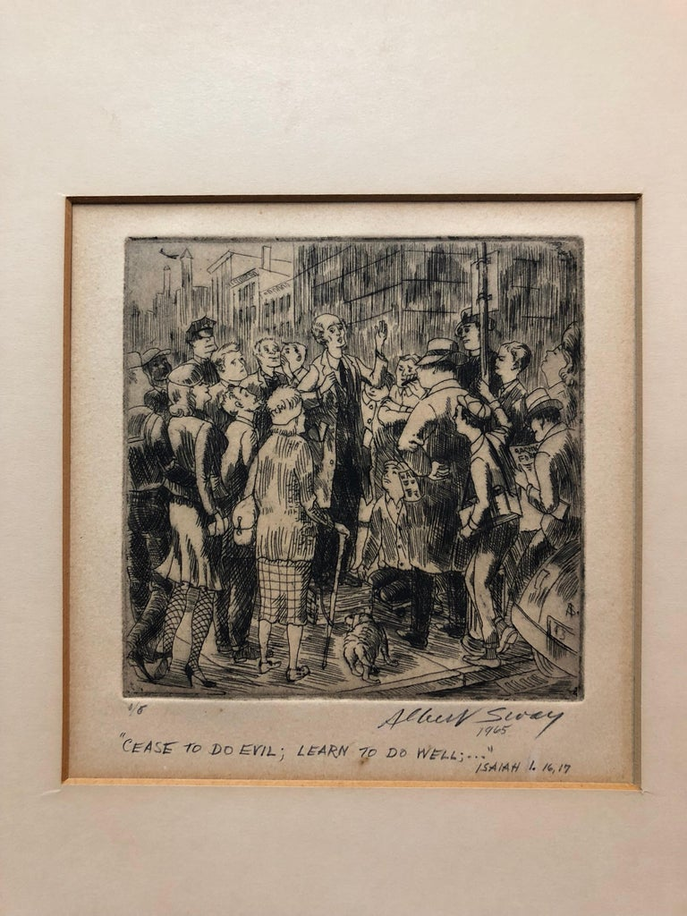 New York Social Realist Etching Cease To Do Evil Learn To Do Well WPA Artist NYC - American Modern Print by Albert Sway