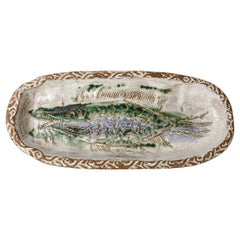 Albert Thiry Animal Stoneware Ceramic Dish Plate with Fish Decoration Design
