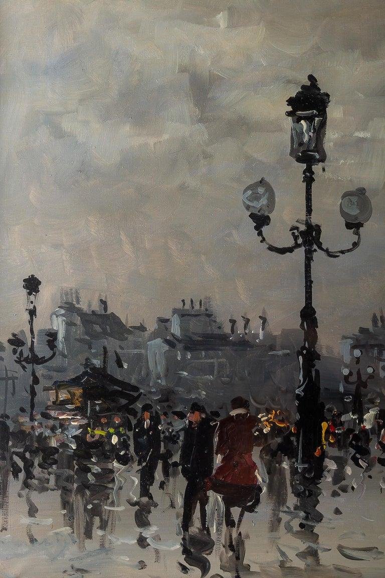 Hand-Painted Albert Tissandier, Gouache Place De L'opéra Paris, circa 1870-1880 For Sale