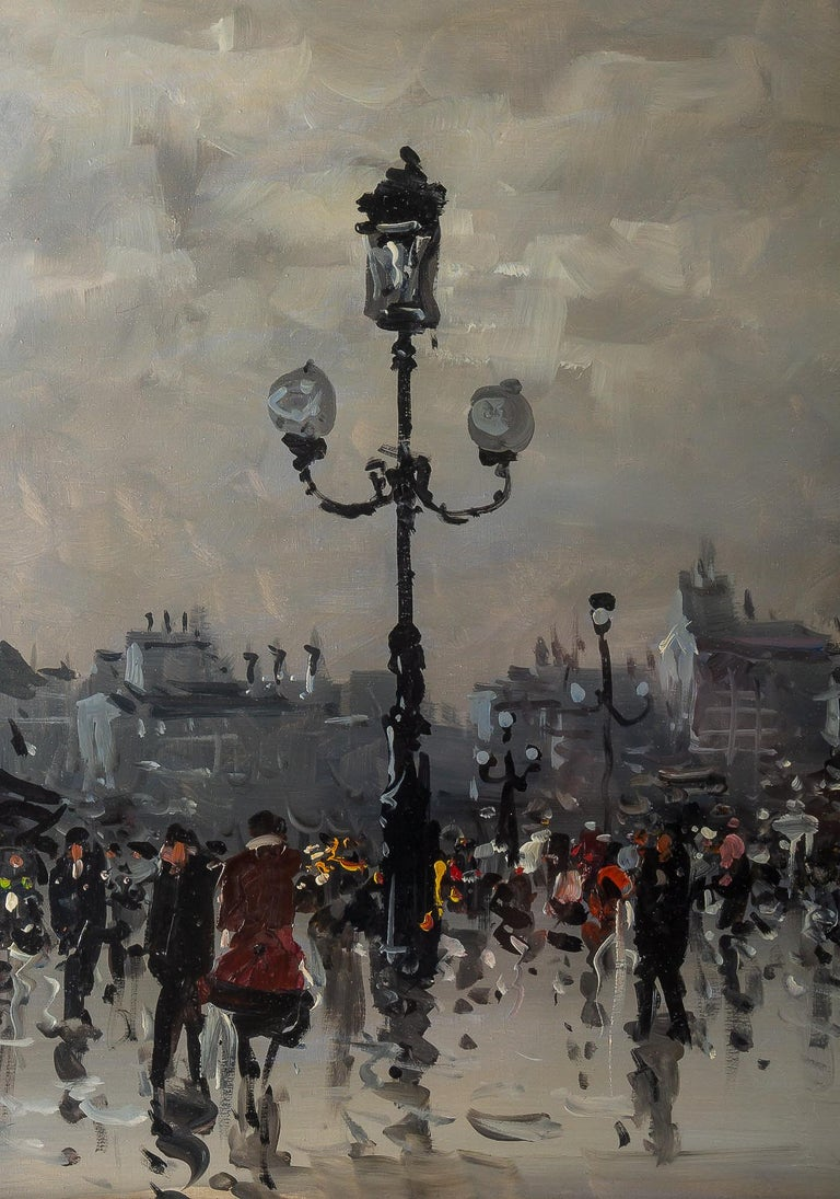 Albert Tissandier, Gouache Place De L'opéra Paris, circa 1870-1880 In Good Condition For Sale In Saint Ouen, FR