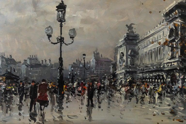 Paper Albert Tissandier, Gouache Place De L'opéra Paris, circa 1870-1880 For Sale