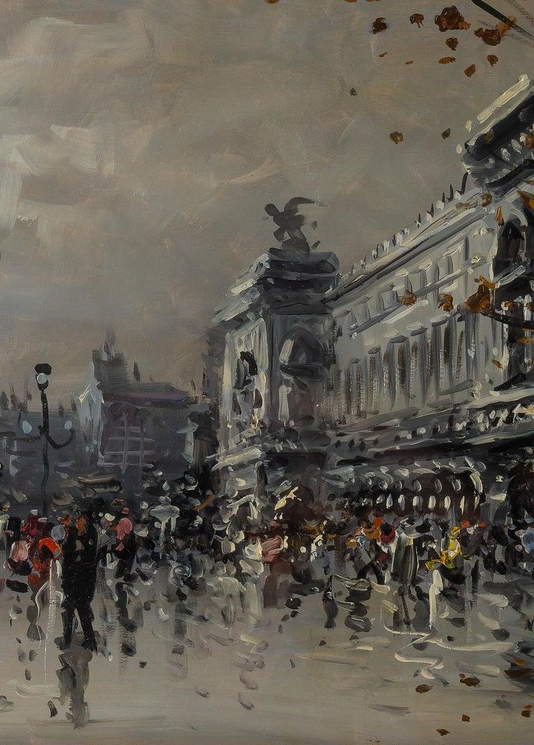 Albert Tissandier, Gouache Place De L'opéra Paris, circa 1870-1880 For Sale 1