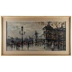 Albert Tissandier, Gouache Place De L'opéra Paris, circa 1870-1880