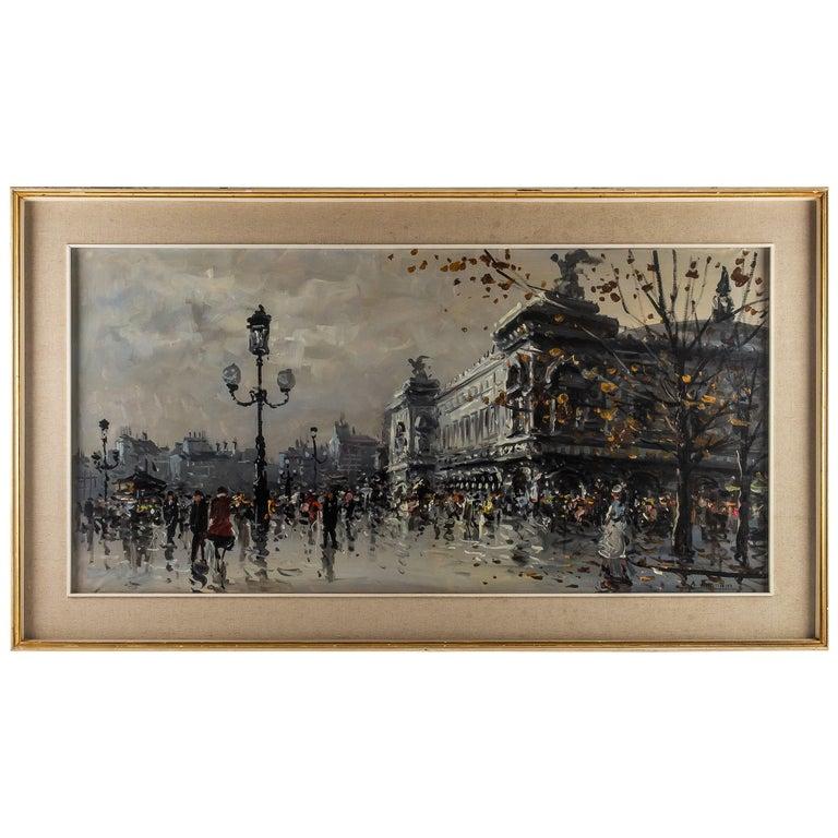 Albert Tissandier, Gouache Place De L'opéra Paris, circa 1870-1880 For Sale