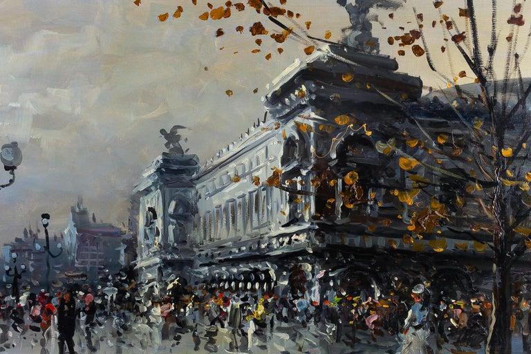 Albert Tissandier Oil on Canvas Place De L'opéra Paris, circa 1870-1880 For Sale 4