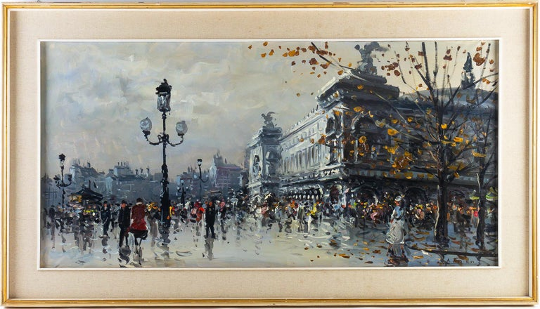Albert Tissandier, oil on canvas place de l'Opéra Paris, circa 1870-1880  Lovely and decorative oil on canvas, depicting La Place de l'Opéra in Paris circa 1870-1880.  Measurements unframed: H 22.83 In., W 46.45 In. Measurements with frame: H