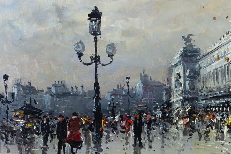 Albert Tissandier Oil on Canvas Place De L'opéra Paris, circa 1870-1880 In Good Condition For Sale In Saint Ouen, FR