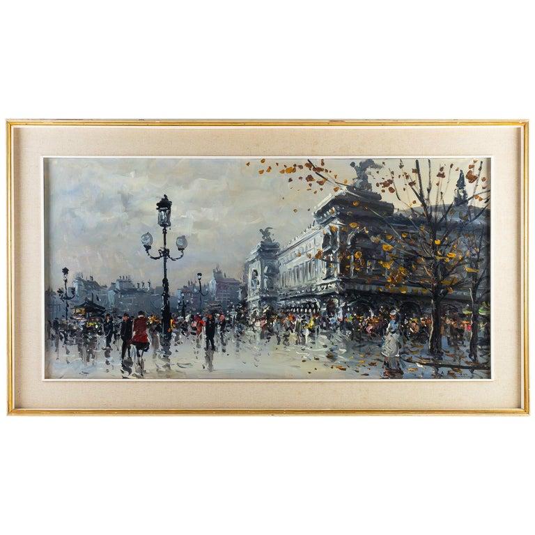 Albert Tissandier Oil on Canvas Place De L'opéra Paris, circa 1870-1880 For Sale