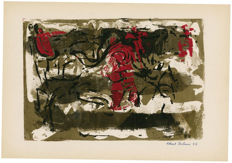 Untitled Abstraction (Figures in Red) - Print by Albert Urban