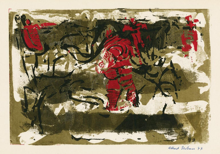 Albert Urban Abstract Print - Untitled Abstraction (Figures in Red)