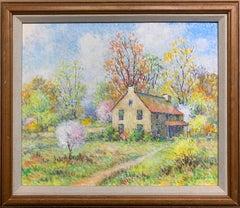 American Impressionist Spring Landscape with House,  Signed Original Oil