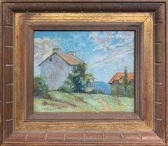 Landscape with Houses, American Impressionist Landscape, Pastel on Paper