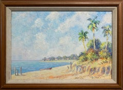 Tropical Beach Scene, American Impressionist Landscape, Original Oil, Signed