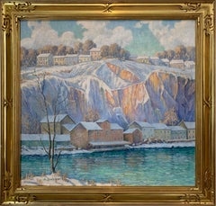 Winter Quarry River House, American Impressionist Snowy Landscape, Oil on Canvas