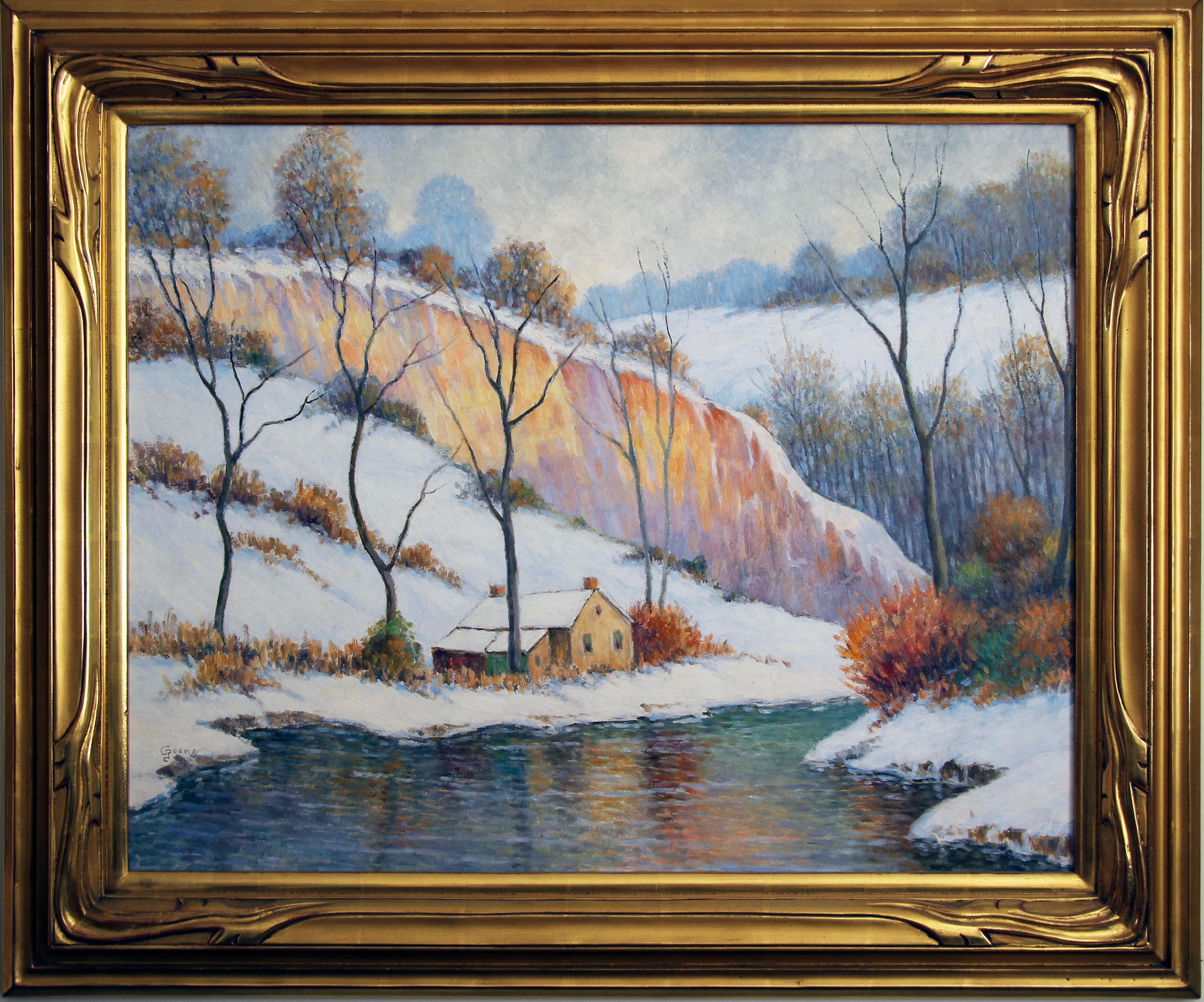 Winter Sunset, American Impressionist Snowy Landscape, Oil on Board, Signed
