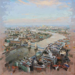 London Bridge - Original Painting on Linen, Areal View, Bridge and River Thames