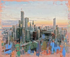 From Lake Point Towers, Birds Eye View of Chicago Looking East, Oil & Acrylic