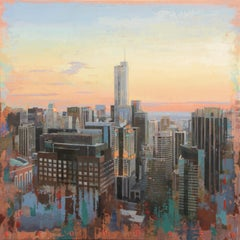 I Know Everything - Birds Eye View of Chicago Looking East, Oil & Acrylic