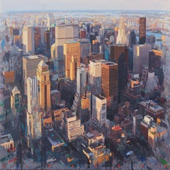 Life - New York City Original Aerial View Oil Painting on Canvas by Albert Vidal