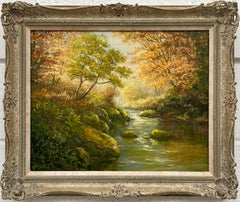 Oil Painting of Beautiful River Landscape Scene in Autumn Sun by British Artist
