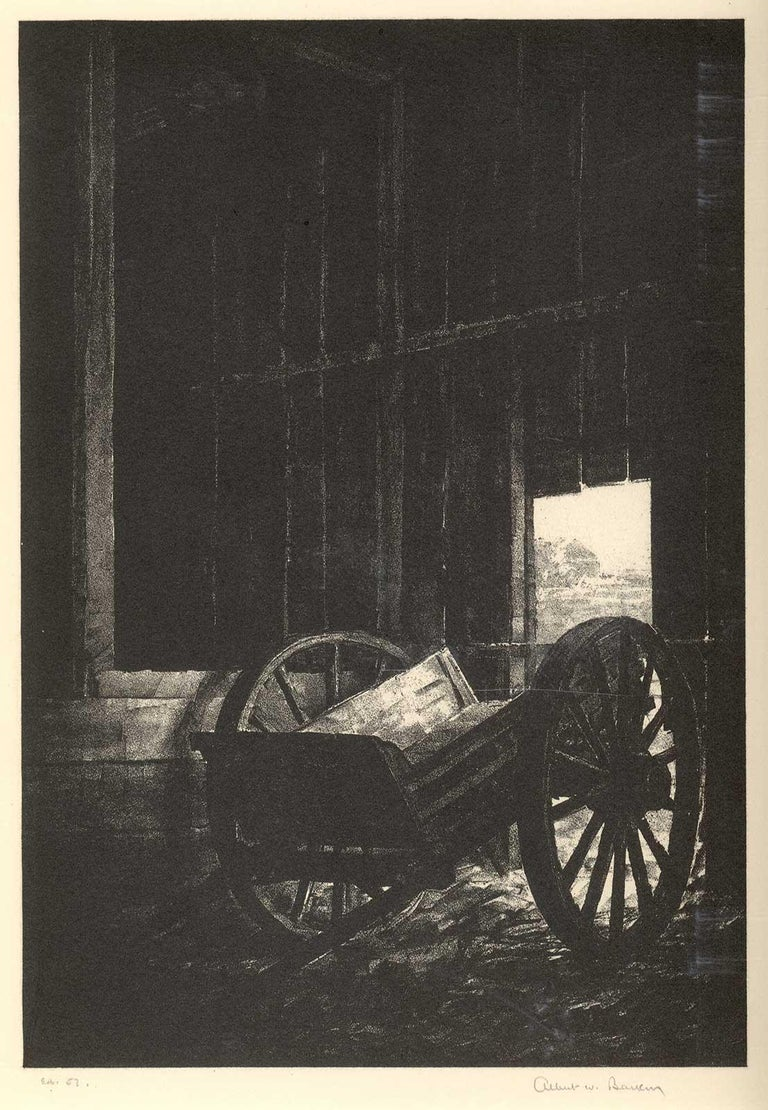 The Old Cart (Nostalgia for a disappearing way of American life) - Black Landscape Print by Albert Winslow Barker