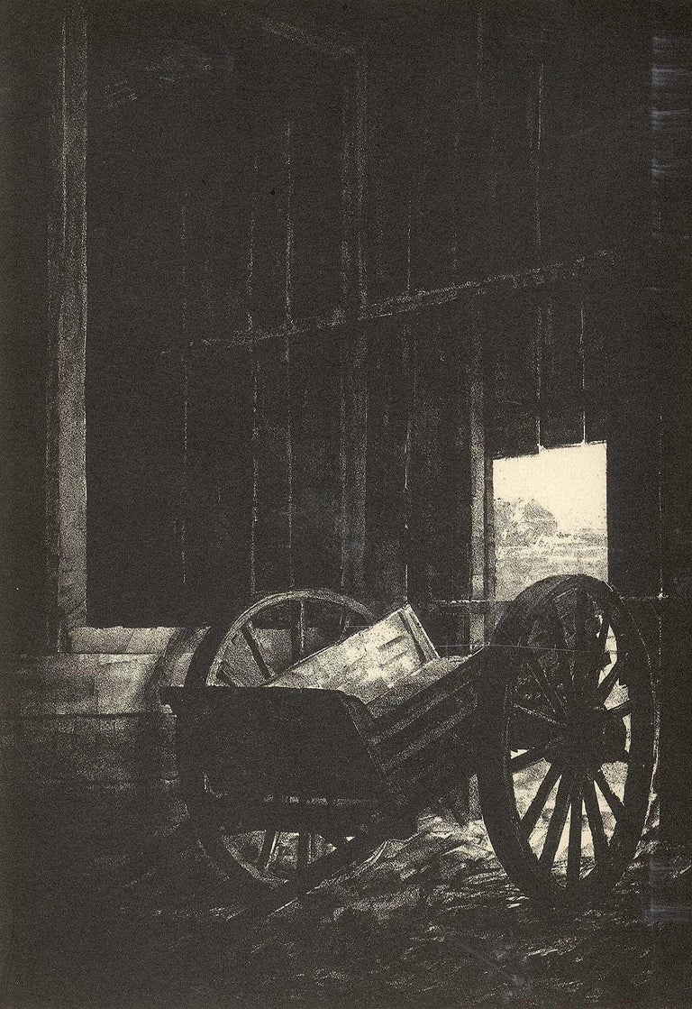 Albert Winslow Barker Landscape Print - The Old Cart (Nostalgia for a disappearing way of American life)