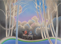 Horse Ride in the Forest - Original lithograph, Handsigned - Ltd 170 proofs