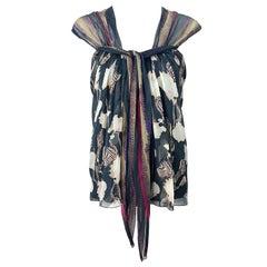 Alberta Ferretti 1990s Silk Chiffon Size 4 Printed Vintage 90s Cap Sleeve Blouse