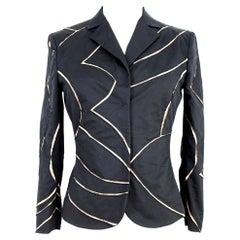 Alberta Ferretti Black Beige Cut Laser Stripes Blazer Jacket 2000s