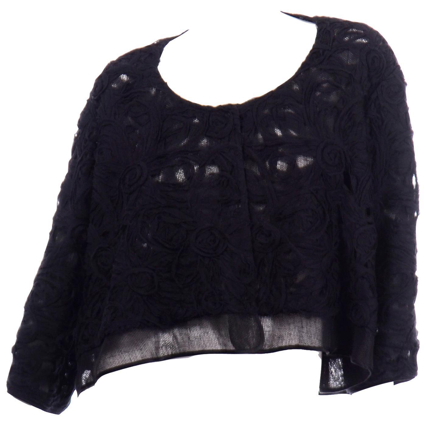 Alberta Ferretti Black Linen and Silk Jacket Top W Soutache Style Detail & Mesh