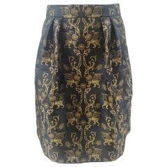 Alberta Ferretti black lions skirt NWOT