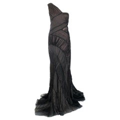 Alberta Ferretti black ruched gown