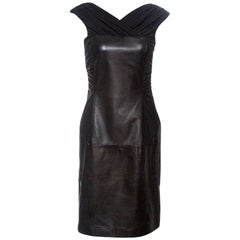 Alberta Ferretti Black Sheep Leather Panel Ruched Sleeveless Dress S
