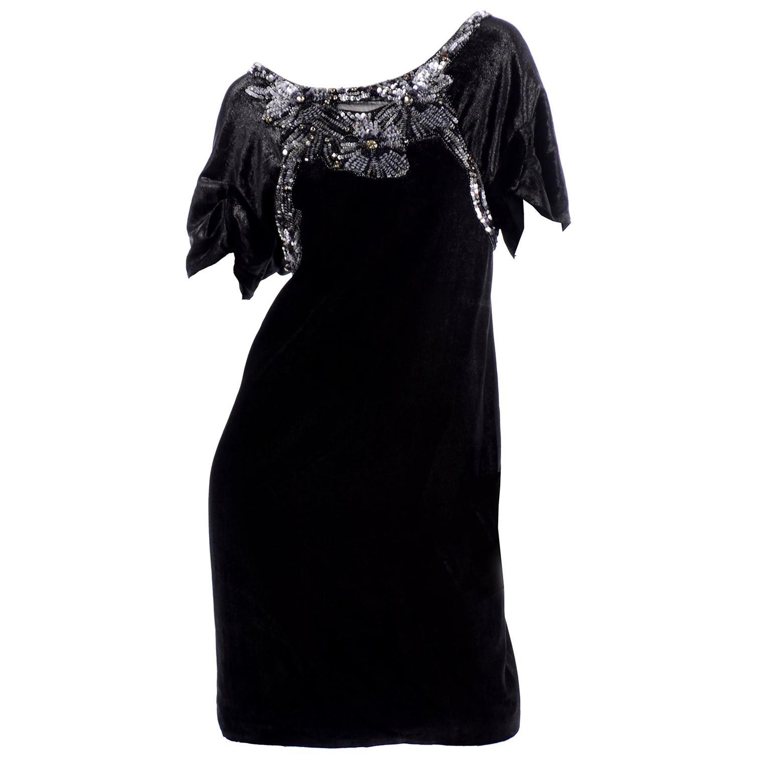 Alberta Ferretti Black Velvet Evening Dress With Sequins and Beads